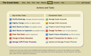 Hotel System 4 :: the global 'Actions and Tasks' menu